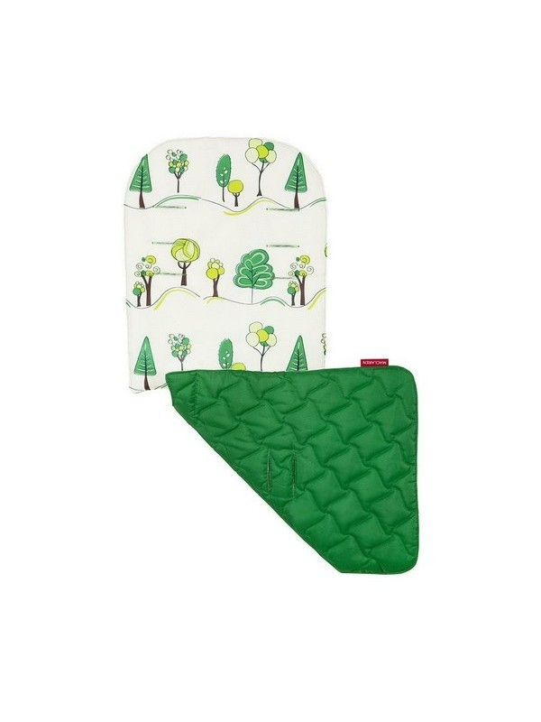 Maclaren Reversible Seat Liner Hug A Tree-Ivory/Jelly Bean Green