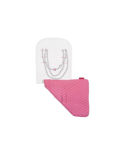 Maclaren Reversible Seat Liner Necklace-Snow/Carmine Rose
