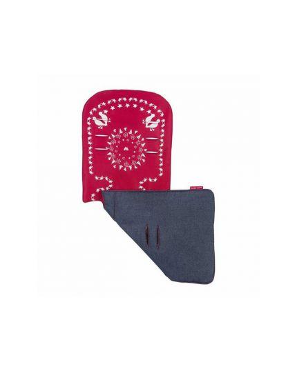 Maclaren Reversible Seat Liner Bandana-Scarlet/Indigo Denim