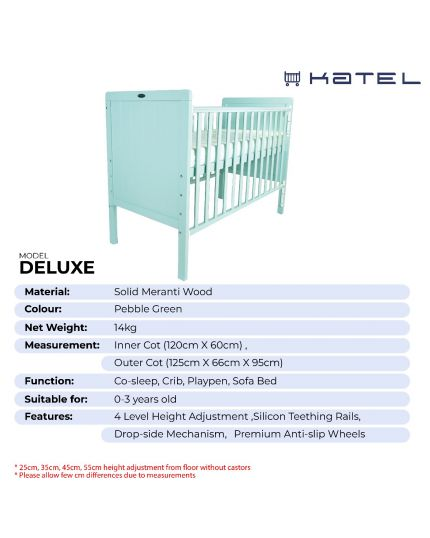 KATEL Baby Cot - Deluxe Pebble Green