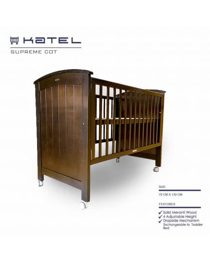 KATEL Baby Cot - Supreme Coffee Oak