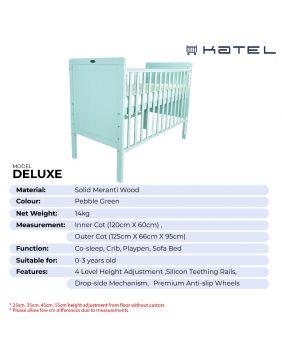 KATEL Baby Cot - Deluxe Pebble Green