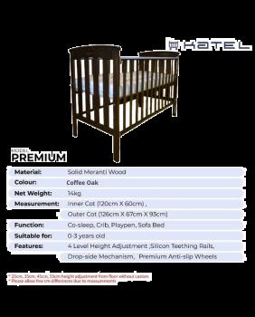 KATEL Baby Cot - Premium Coffee Oak